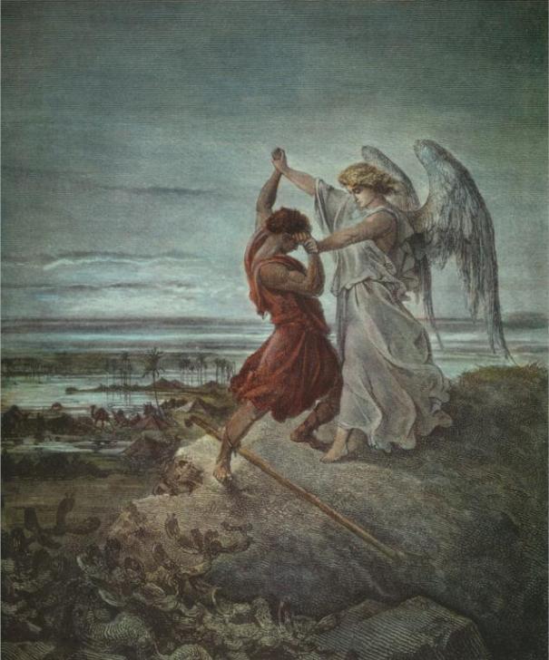 Йааков, борющийся с ангелом. Гюстав Доре, 1855