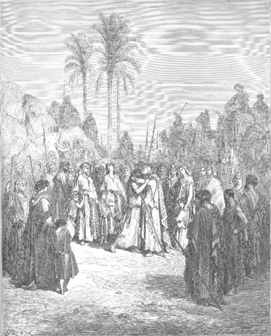 Встреча Йаакова и Эсава. Гюстав Доре, XIX в.