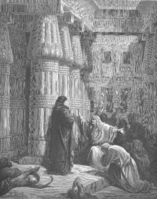 Египтяне просят Моше покинуть страну. Гюстав Доре, 1866