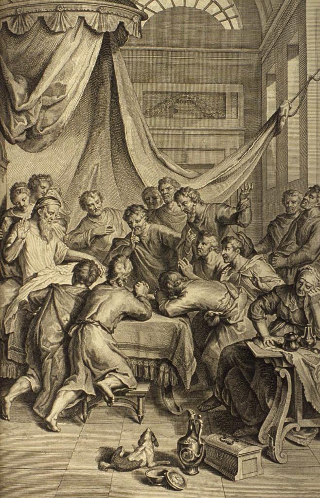Йааков благословляет своих сыновей. Иллюстрация Герарда Хоета, 1728