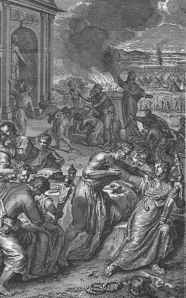 Моав вводит израильтян во грех. Герард Хоет, 1728