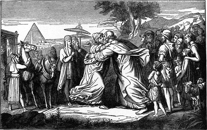 Йосеф встречает Йаакова. Иллюстрация к изданию Библии Чарльза Фостера, 1897