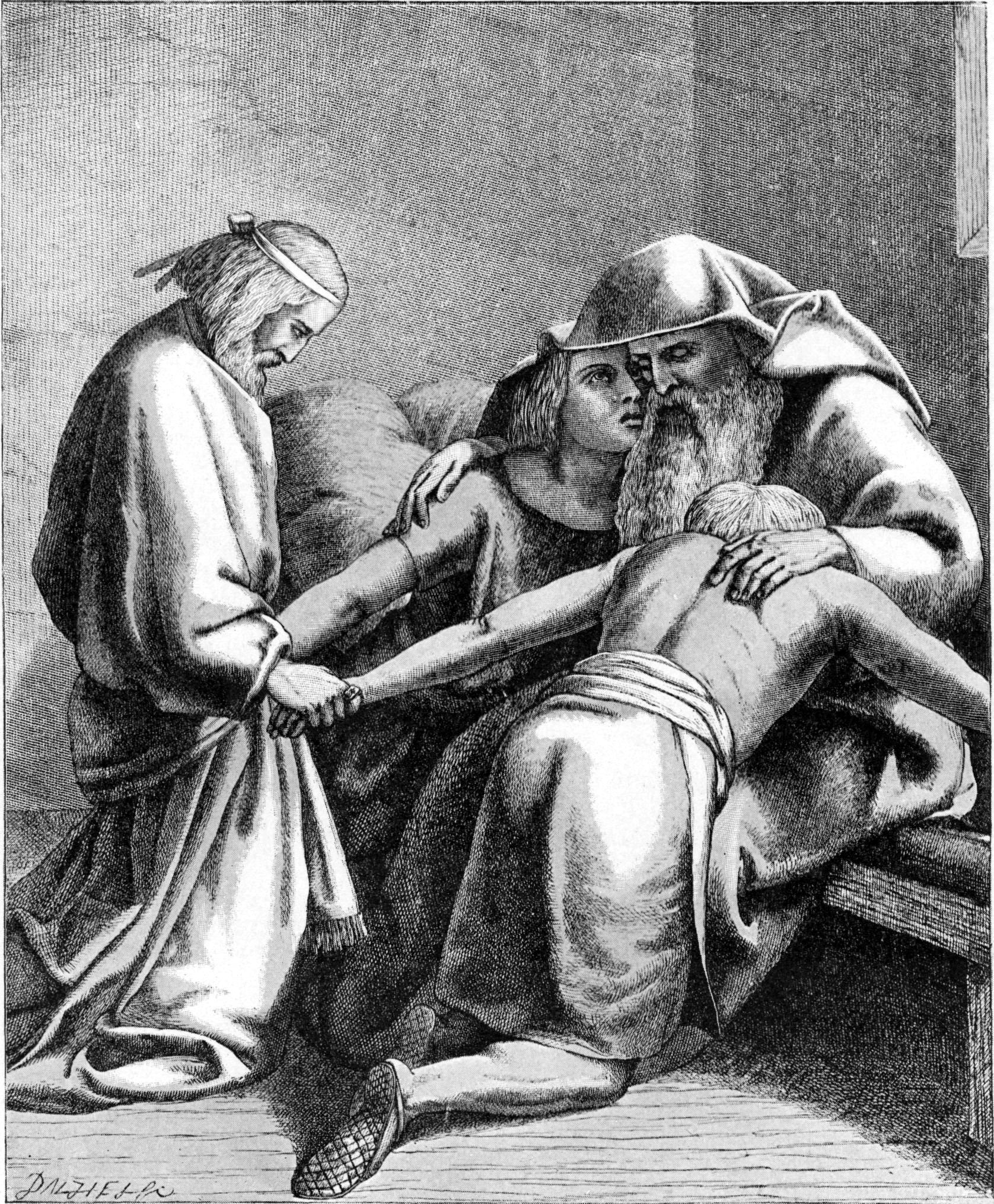 Йааков благословляет Йосефа и его сыновей. Иллюстрация к изданию Библии, 1897
