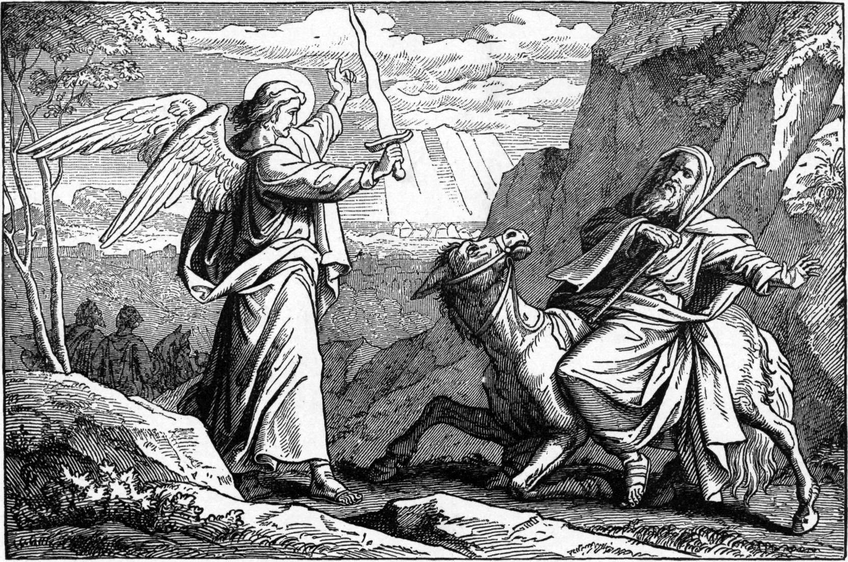Встреча Билеама и ангела. Иллюстрация к изданию Библии Чарльза Фостера, 1897