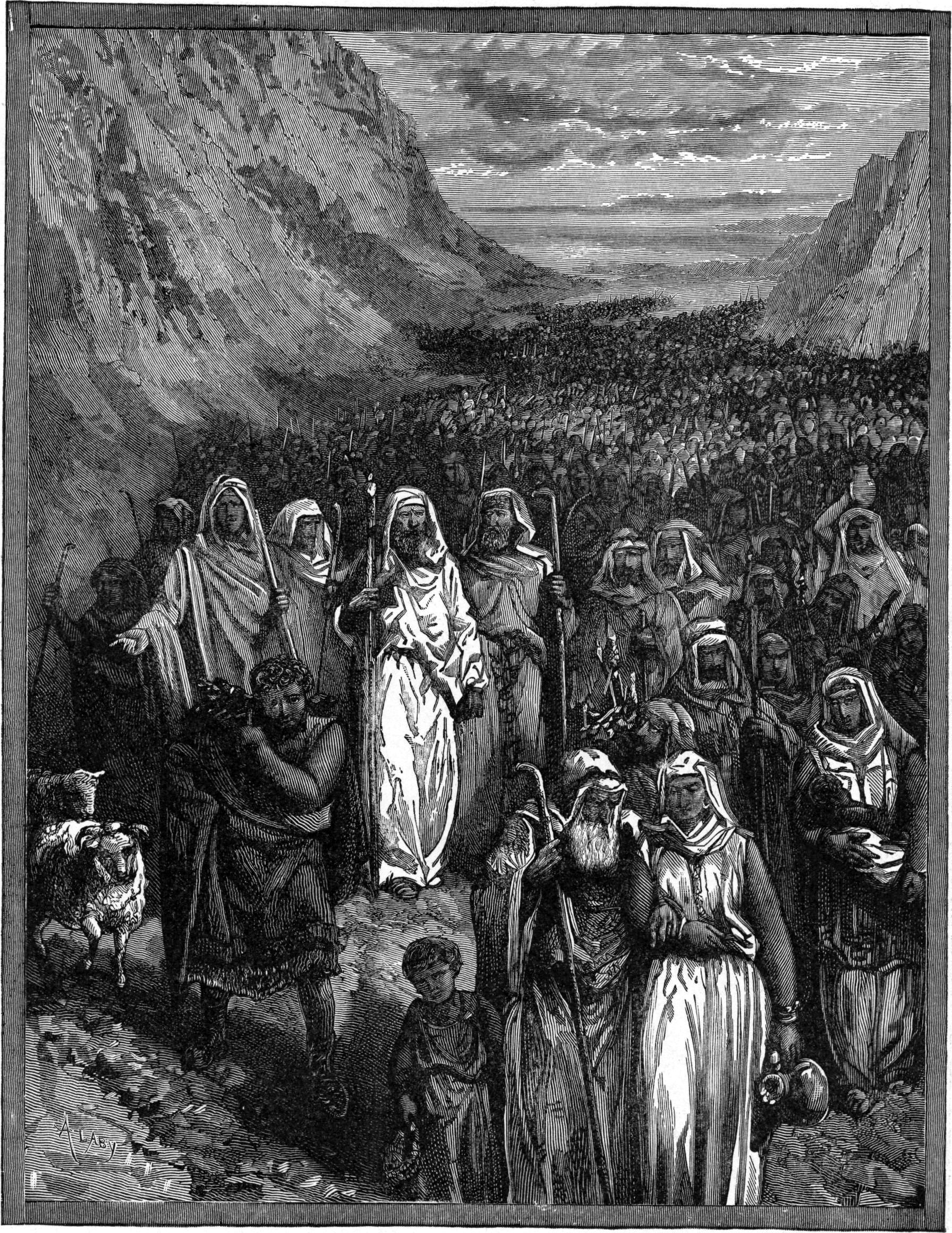 Странствования израильтян в пустыне. Иллюстрация к изданию Библии Чарльза Фостера, 1897