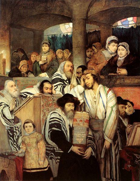 Евреи, молящиеся в синагоге в Йом Киппур. Мауриций Готтлиб, 1878