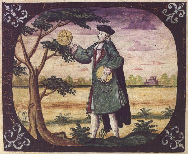 Мужчина с мацой в руках. Филипп Айзек Леви, 1739