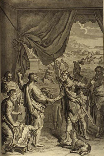 Йицхак и Авимелех клянутся друг другу в дружбе. Герард Хоет, Ян ван Вианен, 1728