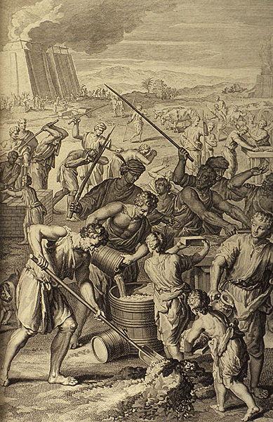 Египтяне принуждают израильтян к изнурительной работе. Иллюстрация Герарда Хоета, 1728