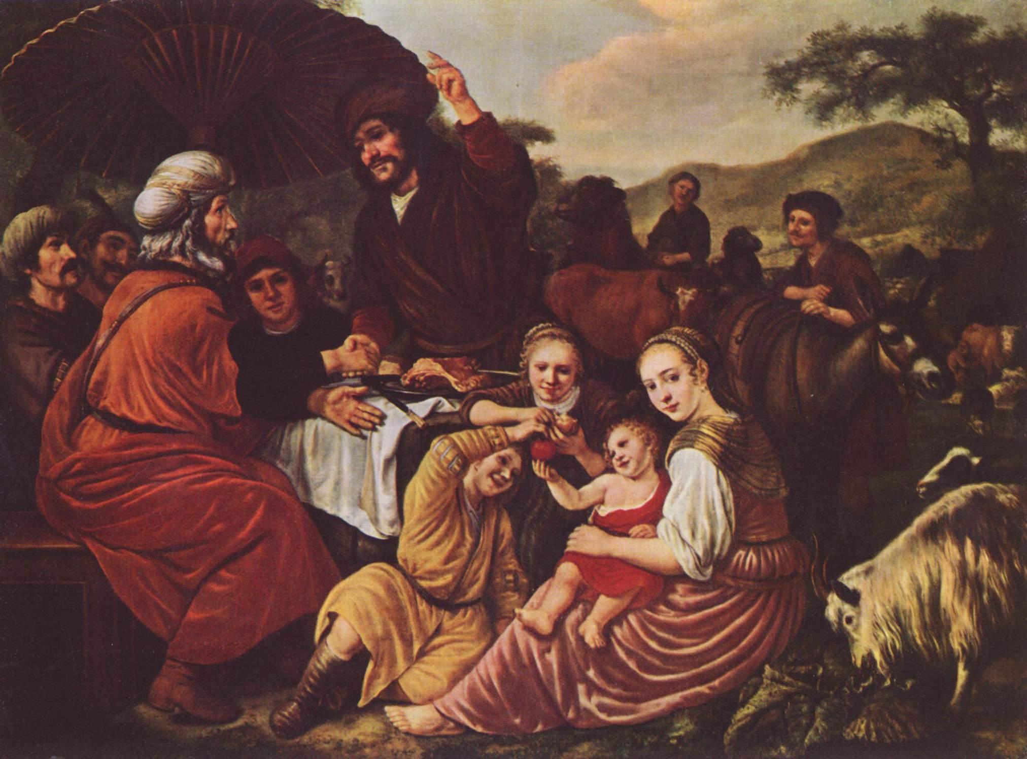 Пир Йитро и Моше. Ян Викторс, 1635