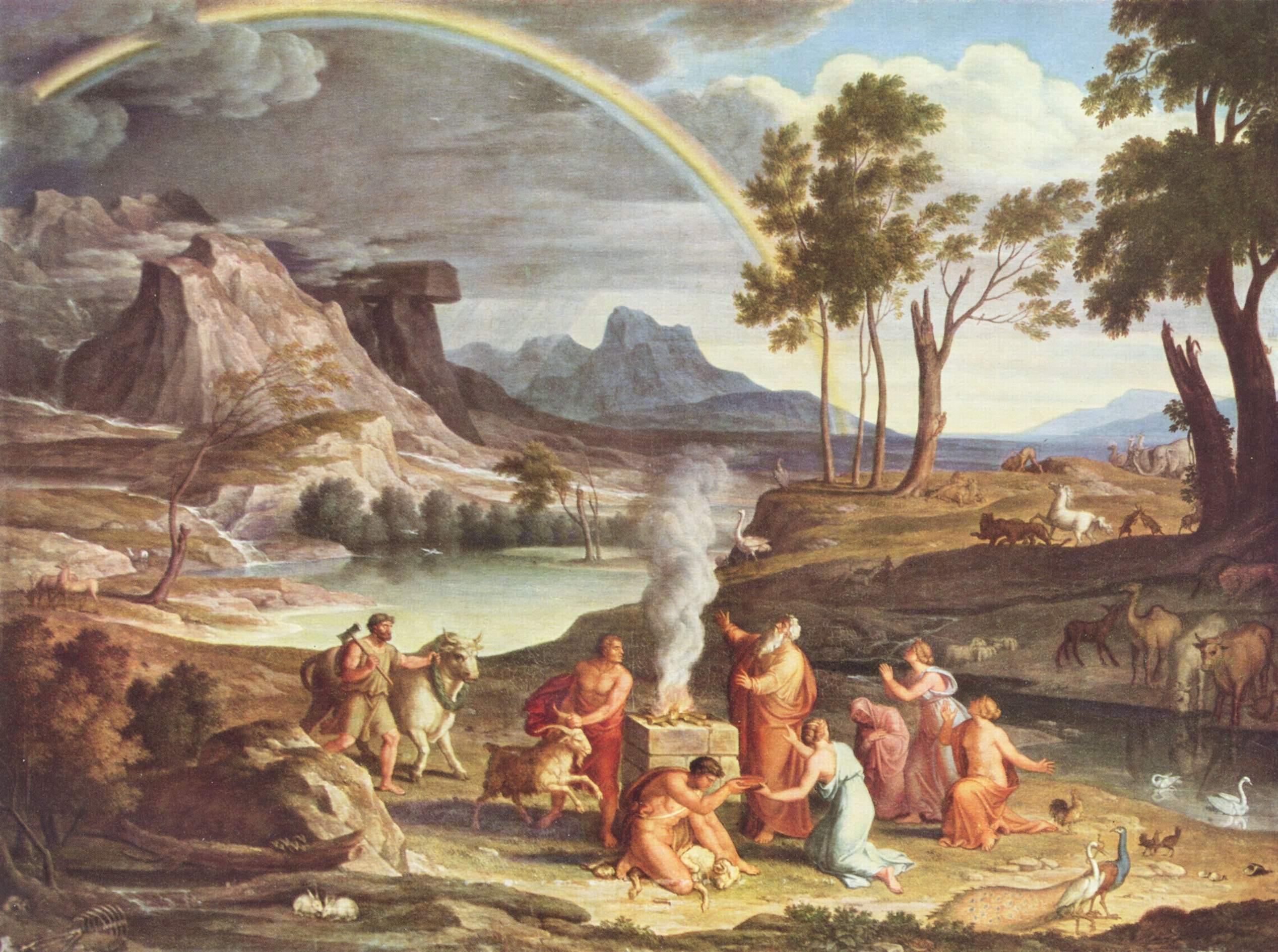Пейзаж с жертвоприношением Ноя. Йозеф Антон Кох, ок. 1803