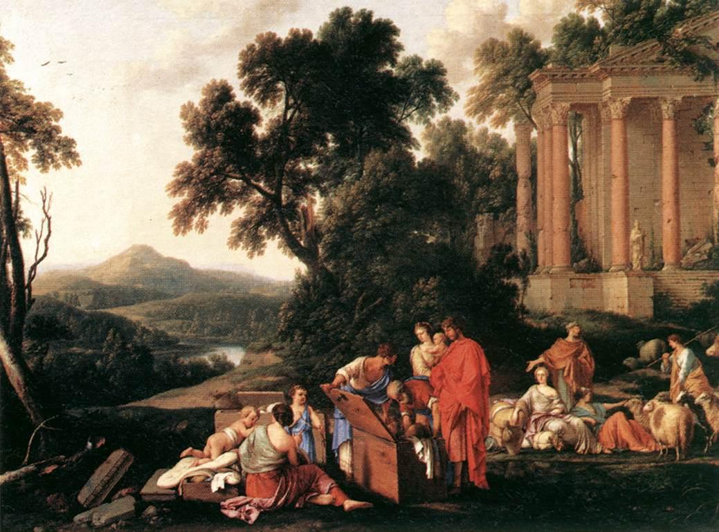 Лаван осматривает поклажу Йаакова в поисках украденных идолов. Лоран де Ла Ир, 1647