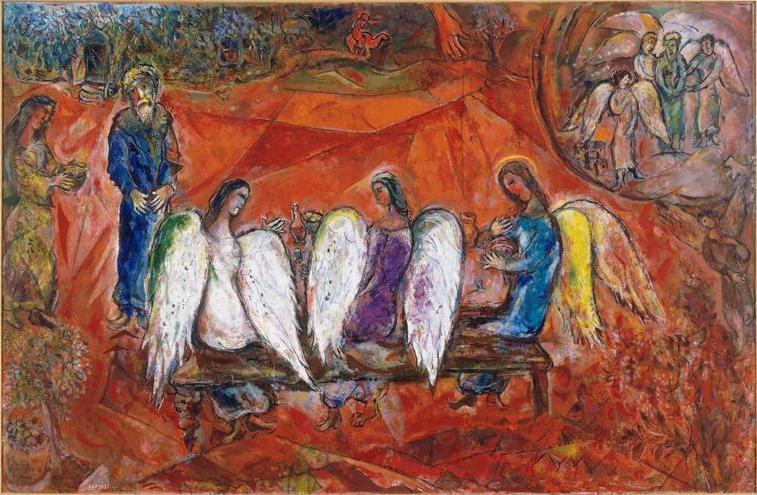 Авраам и три ангела. Марк Шагал, 1966