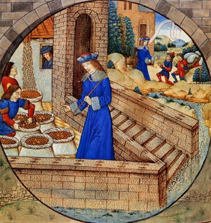Йосеф делает ревизию запасов зерна. Миниатюра, XV в.