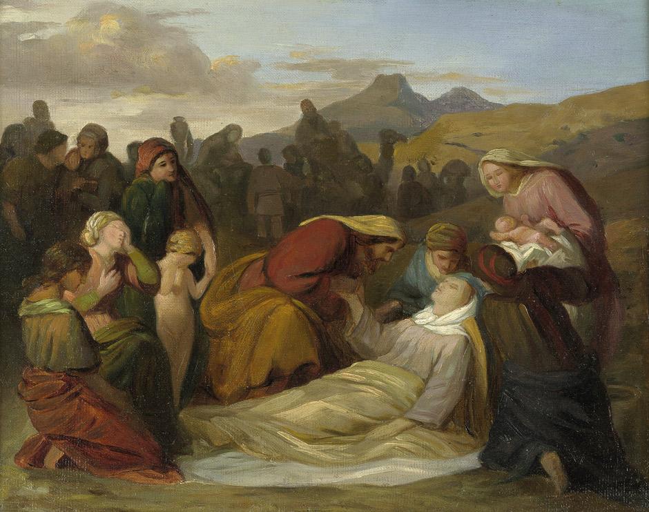 Смерть Рахели после рождения Биньямина. Густав Фердинанд Метц, 1847