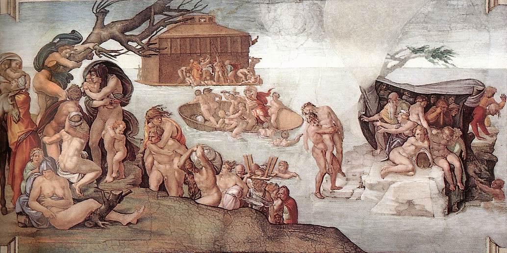 Потоп. Фреска Микеланджело, 1508-1512