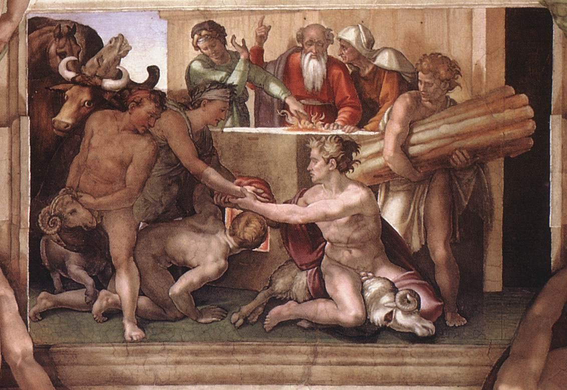 Жертвоприношение Ноаха. Фреска Микеланджело, 1509