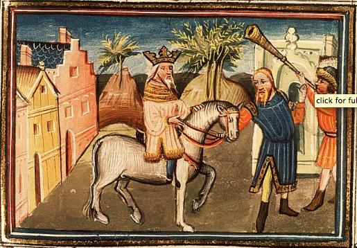 Аман ведет через город Мордехая. Миниатюра, XV в.