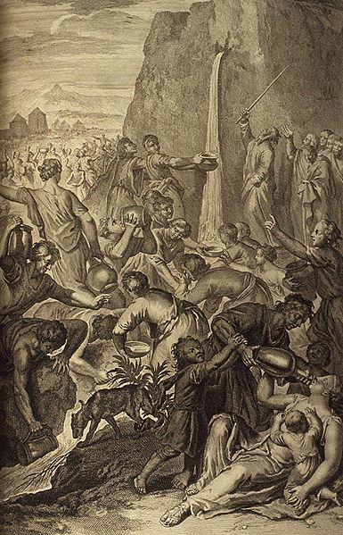 Моше высекает воду из скалы. Герард Хоет, 1728
