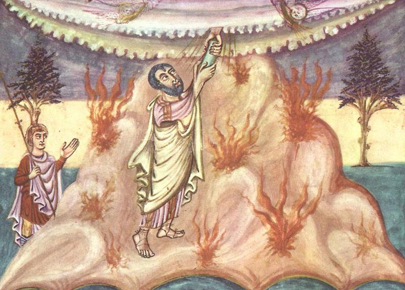 Моше получает скрижали Завета. Миниатюра IX в.
