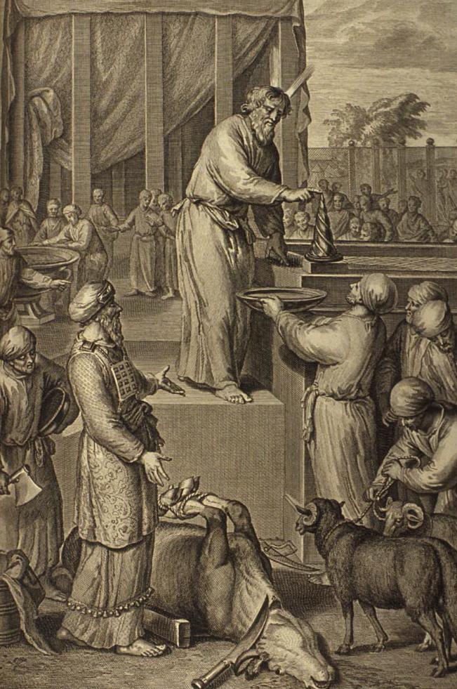 Моше посвящает Аарона и его сыновей на священное служение. Иллюстрация Герарда Хоета, 1728