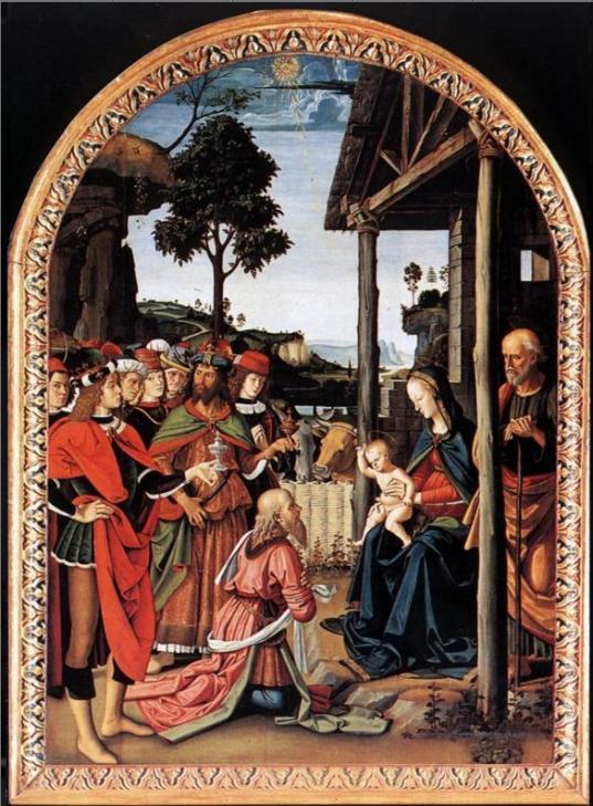 Путешествие Моше в Египет и обрезание его сына Элиезера (деталь). Пьетро Перуджино, 1482