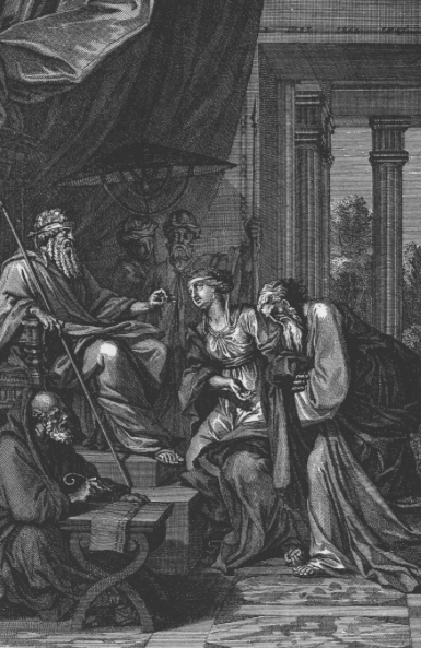 Мордехай получает царское кольцо. Бернар Пикар, 1728