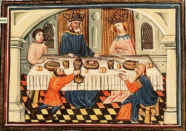 Аман и Ахашверош на пиру, устроенном Эстер. Миниатюра, XV в.