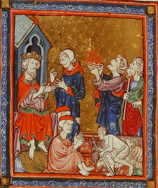 Шестая казнь: язвы и нарывы. Иллюстрации к Аггаде, XIV в.