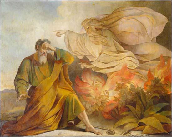 Бог является Моисею в купине неопалимой. Евгений Плюшар, роспись Исаакиевского собора, 1848