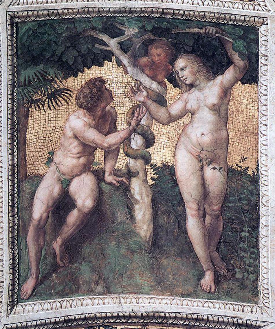 Адам и Ева. Фреска Рафаэля, 1509-1511