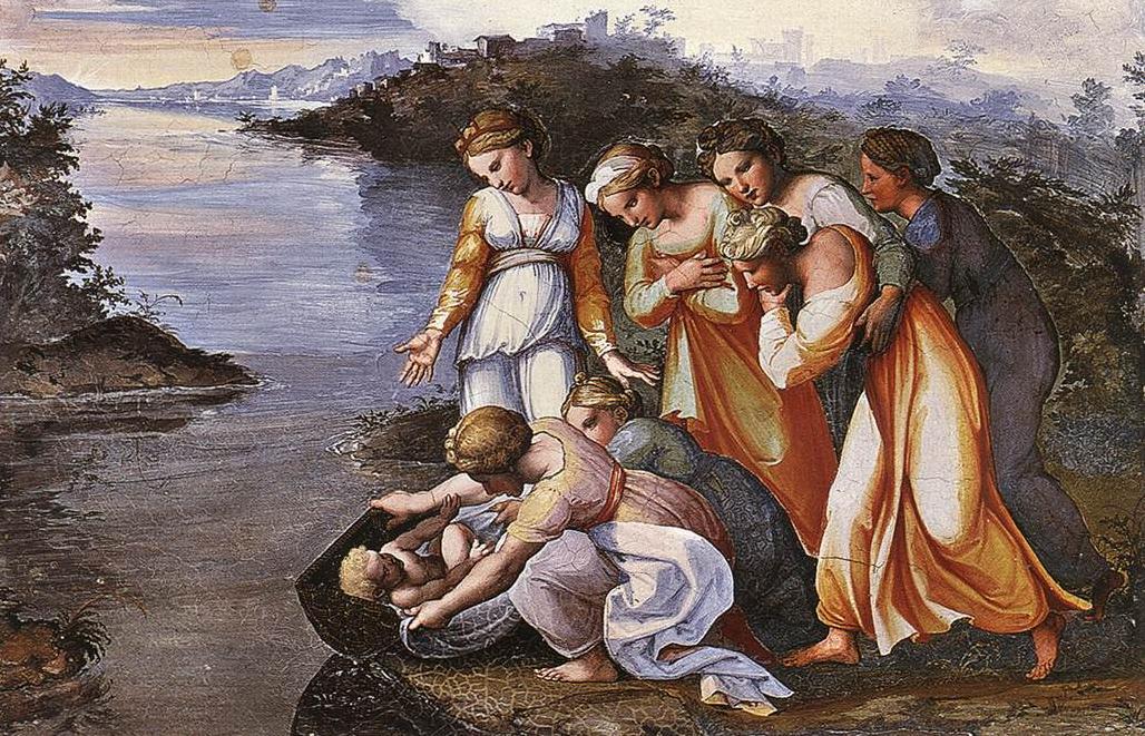 Моше спасают из вод Нила. Рафаэль, 1519