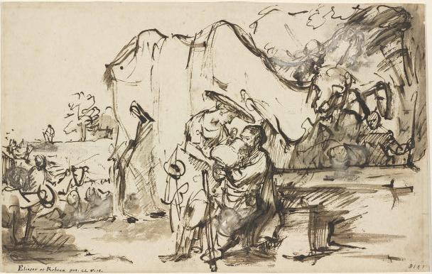 Элиэзер и Ривка у колодца. Рембрандт, 1640