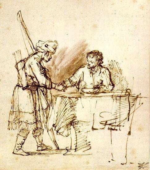 Эсав продает свое первородство Йаакову. Рембрандт, 1648-1650