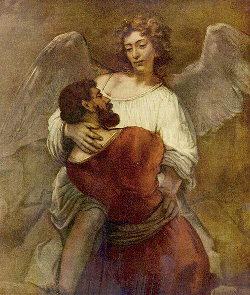 Йааков, борющийся с ангелом. Рембрандт, 1660