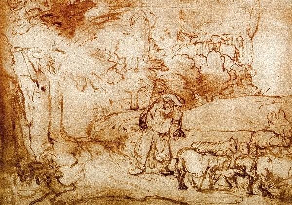 Моше и горящий терновник. Рембрандт, 1655