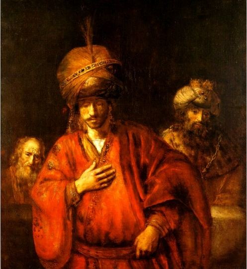 Аман готовится оказать почет Мордехаю. Рембрандт, 1665