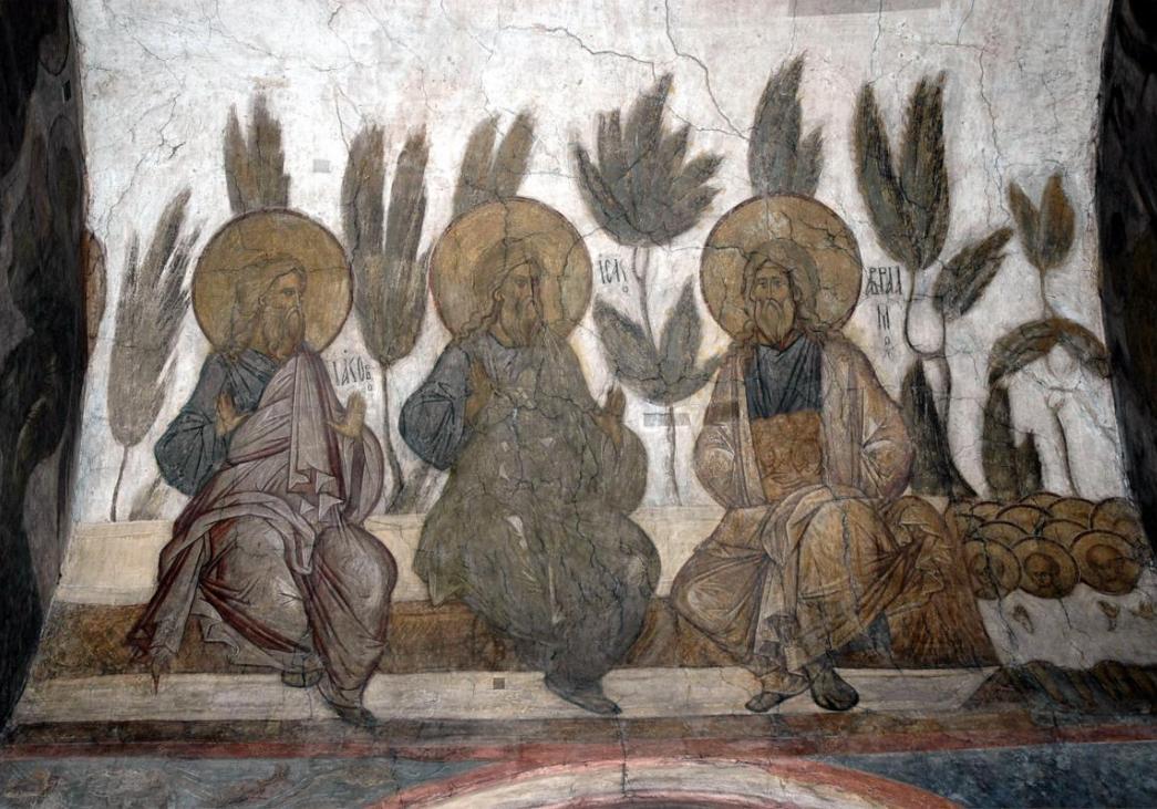 Праотцы Авраам, Исаак и Иаков в раю. Андрей Рублев и Даниил Черный, 1408