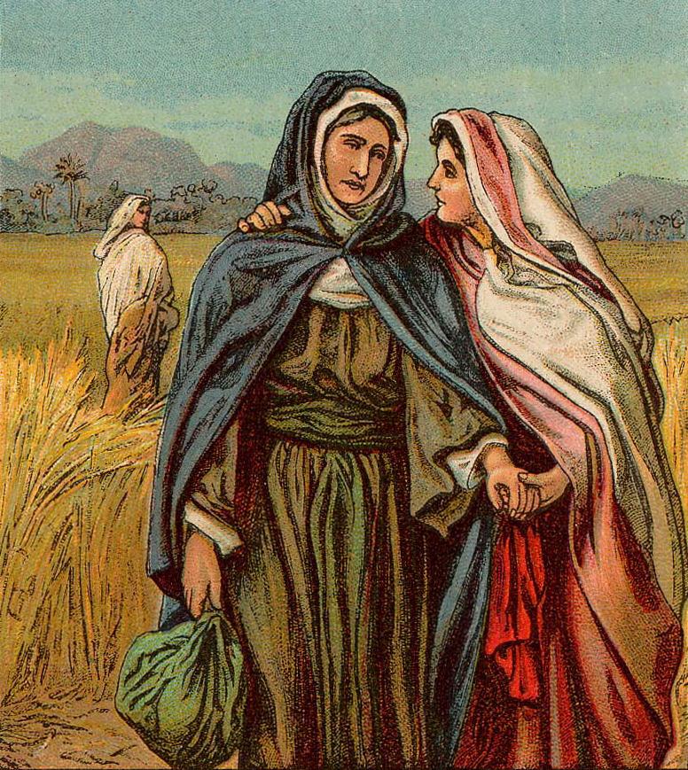 Рут остается с Наоми. Иллюстрация к изданию Библии, 1907