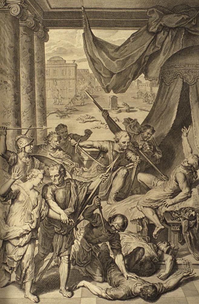 Шимон и Леви убивают жителей города Шехема. Герард Хоет, 1728