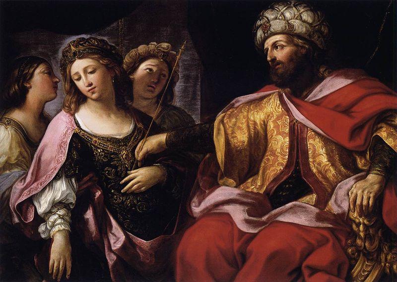 Эстер перед царем Ахашверошем. Джованни Андреа Сирани, 1630-е