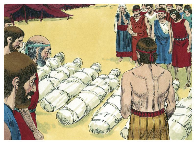 Десять разведчиков, распускавших дурную молву о Земле обетованной, погибают. Иллюстрация Джима Праджетта, 1984