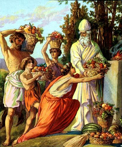 Приношение в день первых плодов. Иллюстрация 1896-1913 гг.