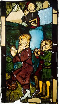 Господь благословляет Ноаха и его сыновей. Витраж, XIV век