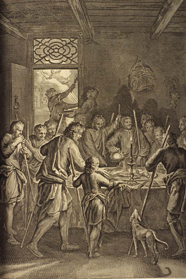Пасхальная трапеза израильтян. Герард Хоет, 1728