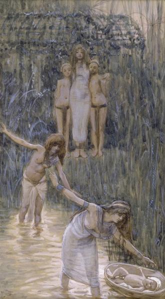 Дочь фараона находит корзину с Моше. Джеймс Тиссо, 1896-1902
