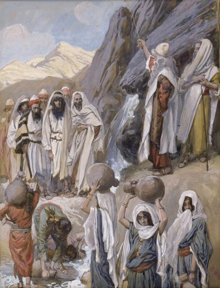 Моше высекает воду в скале. Джеймс Тиссо, 1896-1902