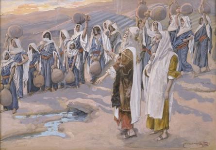 Моше высекает воду из скалы в пустыне. Джеймс Тиссо, 1896-1902