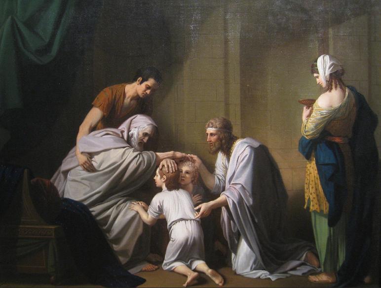 Йааков благословляет Эфрайима и Менаше. Бенджамин Уэст, 1766-68