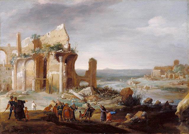 Моше и Аарон превращают воды Нила в кровь. Бартоломей Бреенберг, 1631